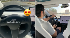 WATCH: HH Sheikh Hamdan Test Driving The Tesla 3 With Uncle Saeed Is A BIG Mood